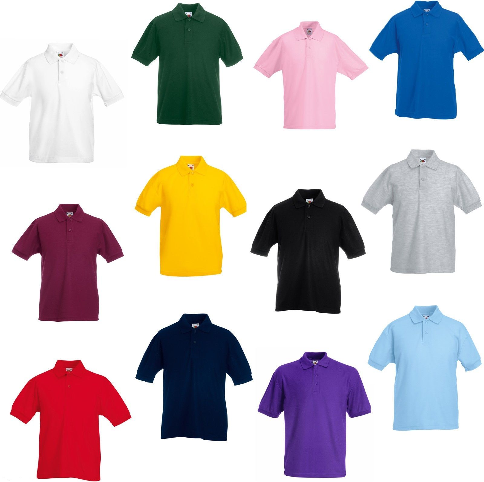 ca8d9f76d593 Boys Girls Kids Unisex Plain Summer Polo T Shirt 3-14 Years Daily School  Uniform