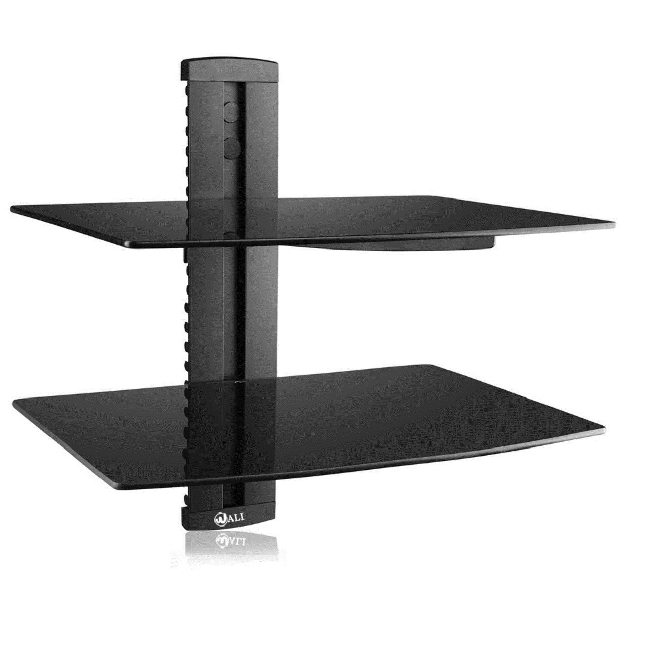 Black 2 Tier Tempered Glass Adjustable Floating Shelves Tv