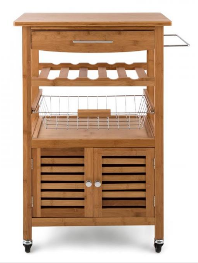 3 tier portable natural bamboo wood kitchen trolley basket for Bamboo wood kitchen cabinets