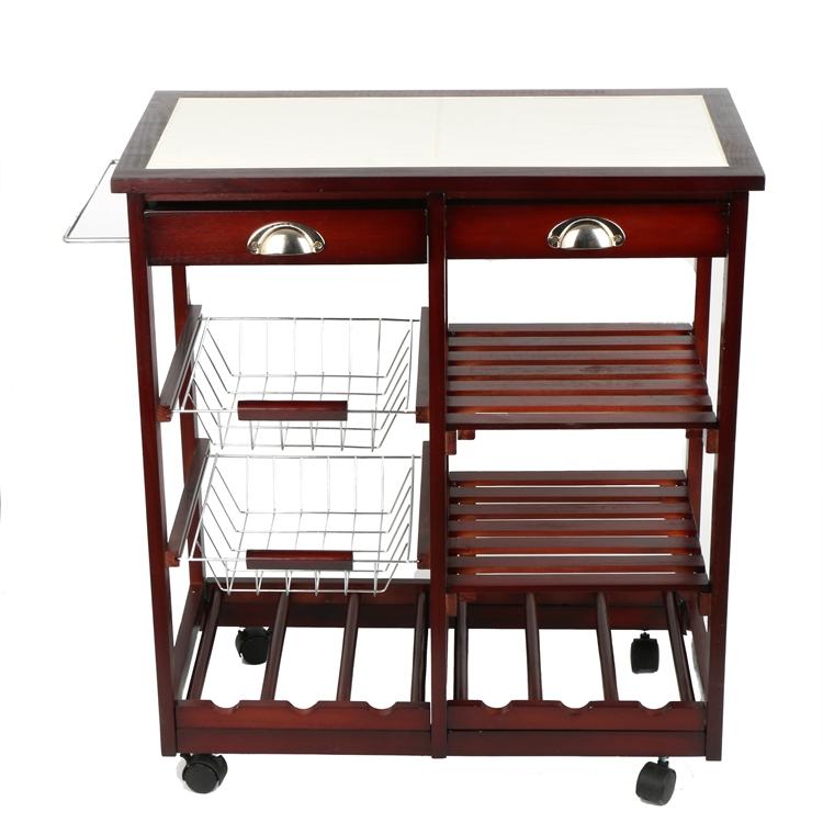 4 Tier Portable Cherry Wood Kitchen Trolley Basket Cabinet