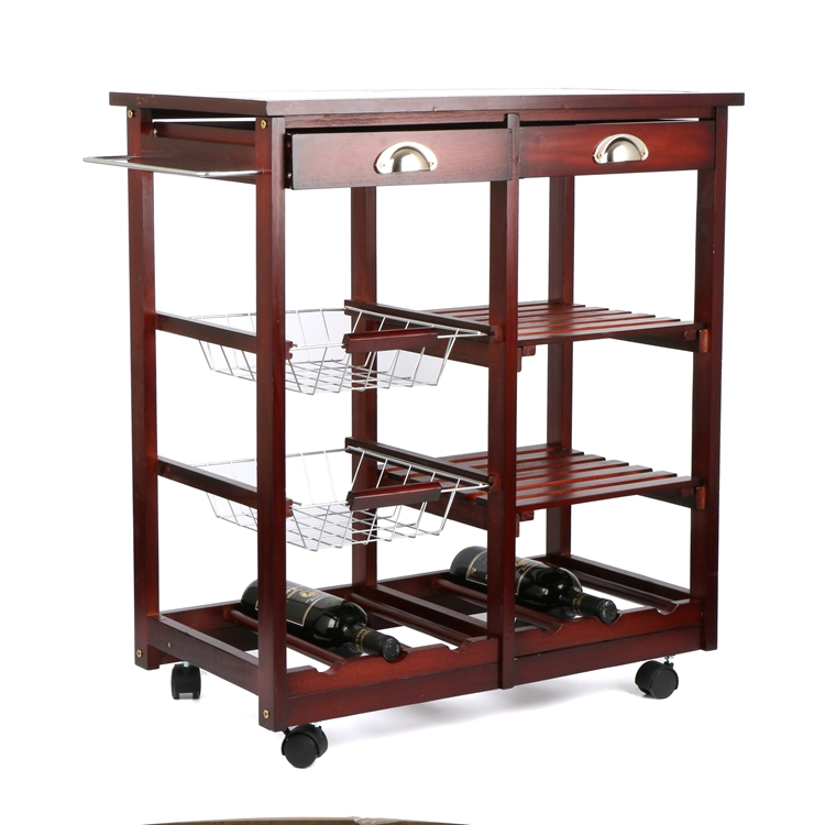Portable Wood Storage Cabinet : Portable rolling cherry wood kitchen trolley basket