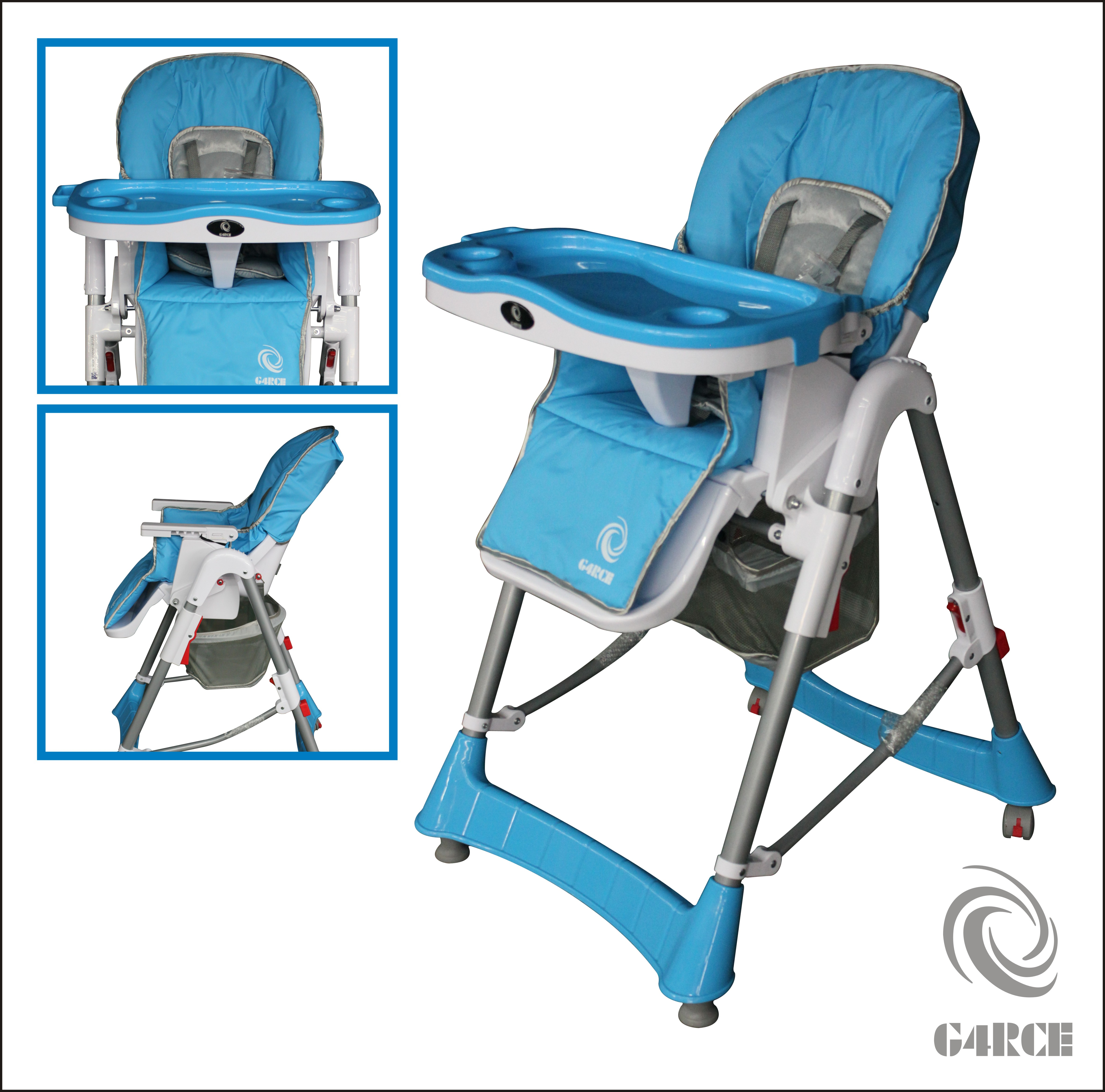 G4RCE Foldable 3 IN 1 Baby Toddler Infant High chair Feeding