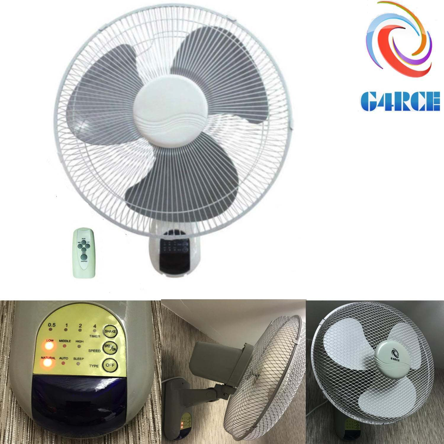 Wall Mounted Fans With Remote Control : Oscillating speed quot wall mounted home office w fan