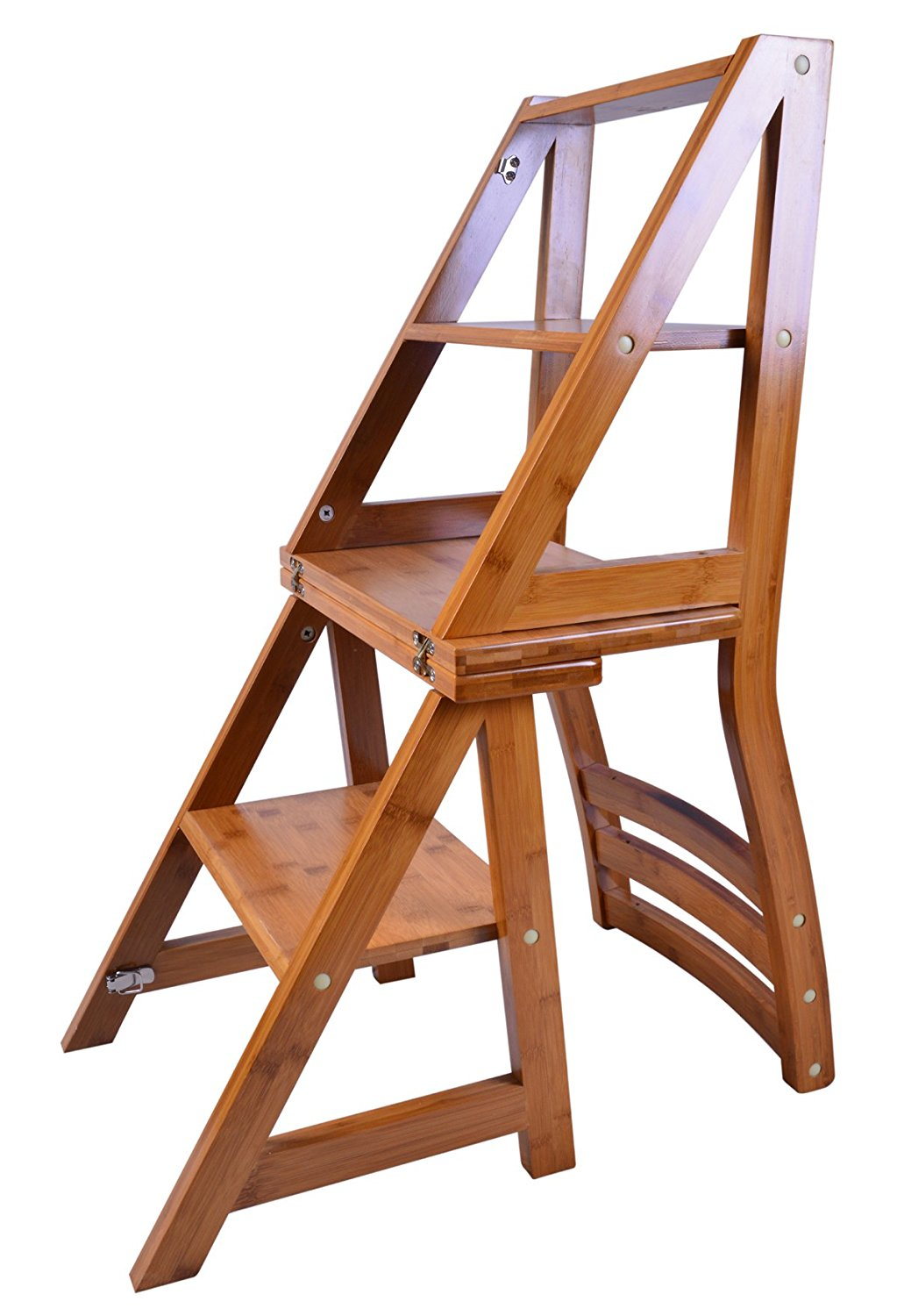 Folding fold up library step ladder chair office kitchen for Fold up garden chairs