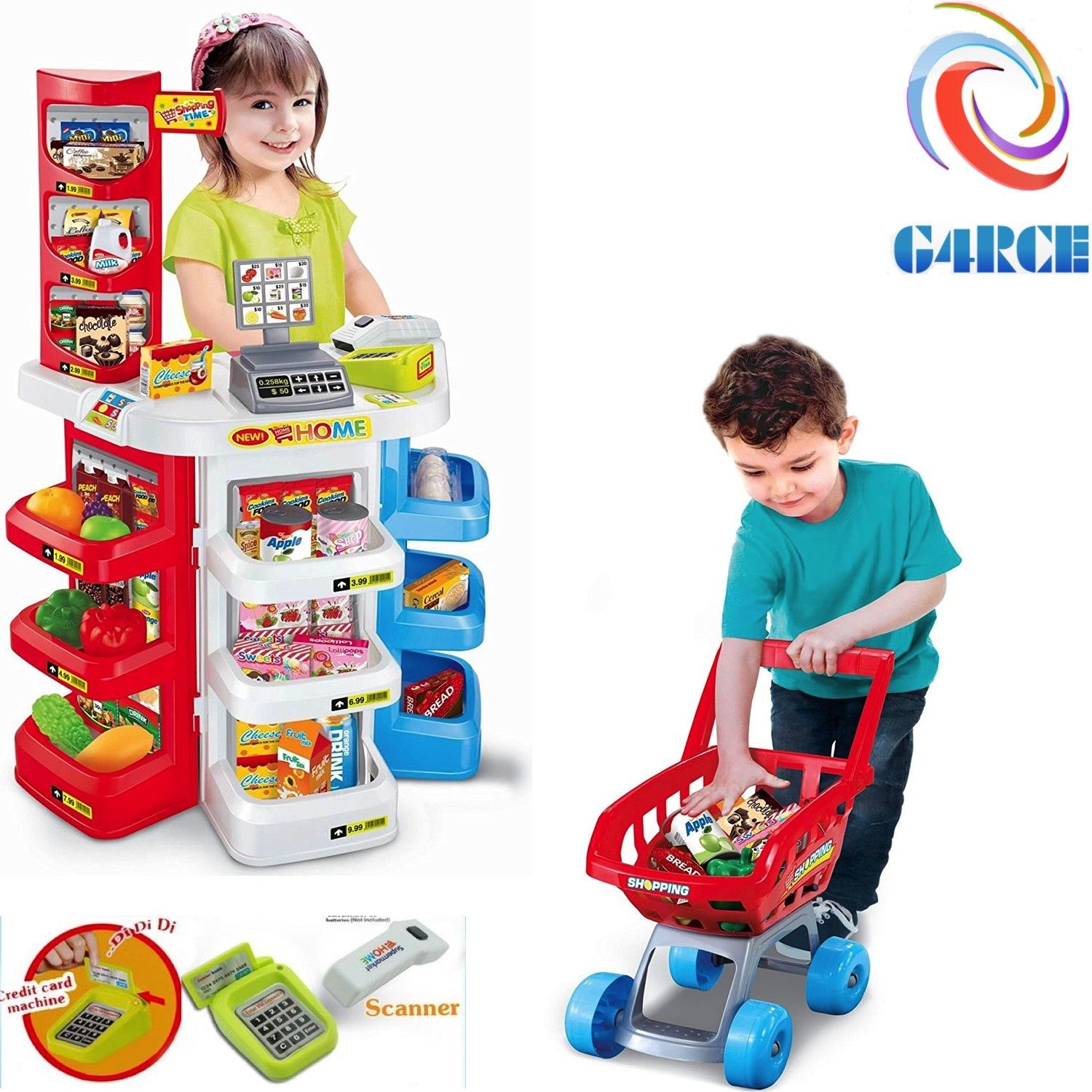 Supermarket Kids Toy Play Shop Shopping Pretend Till Role Cash