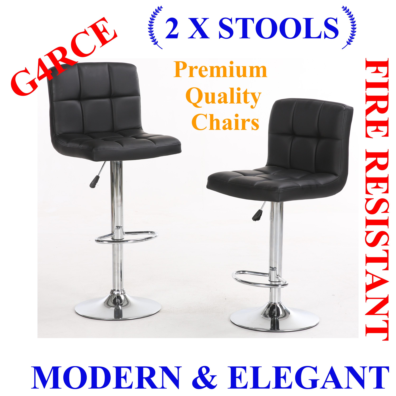G4rce 2x Cuban Pu Leather Breakfast Kitchen Barstool Bar Stool Adjustable Chair Bar Stools