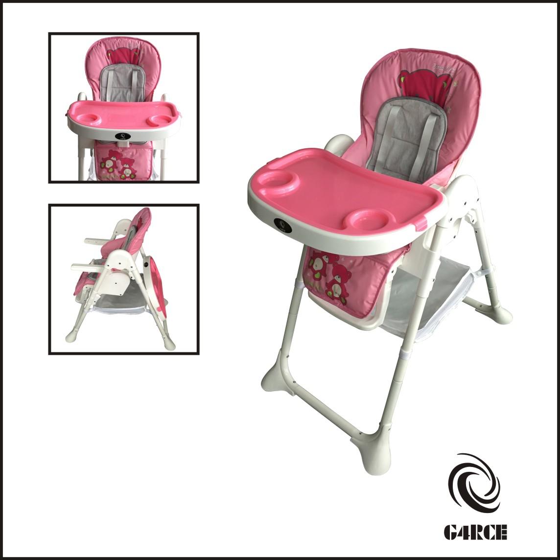 Plegable 3 en 1 Bebé Niño Infantil Reclinable Silla Alta Dar Comer Mesa Bandeja Rosa