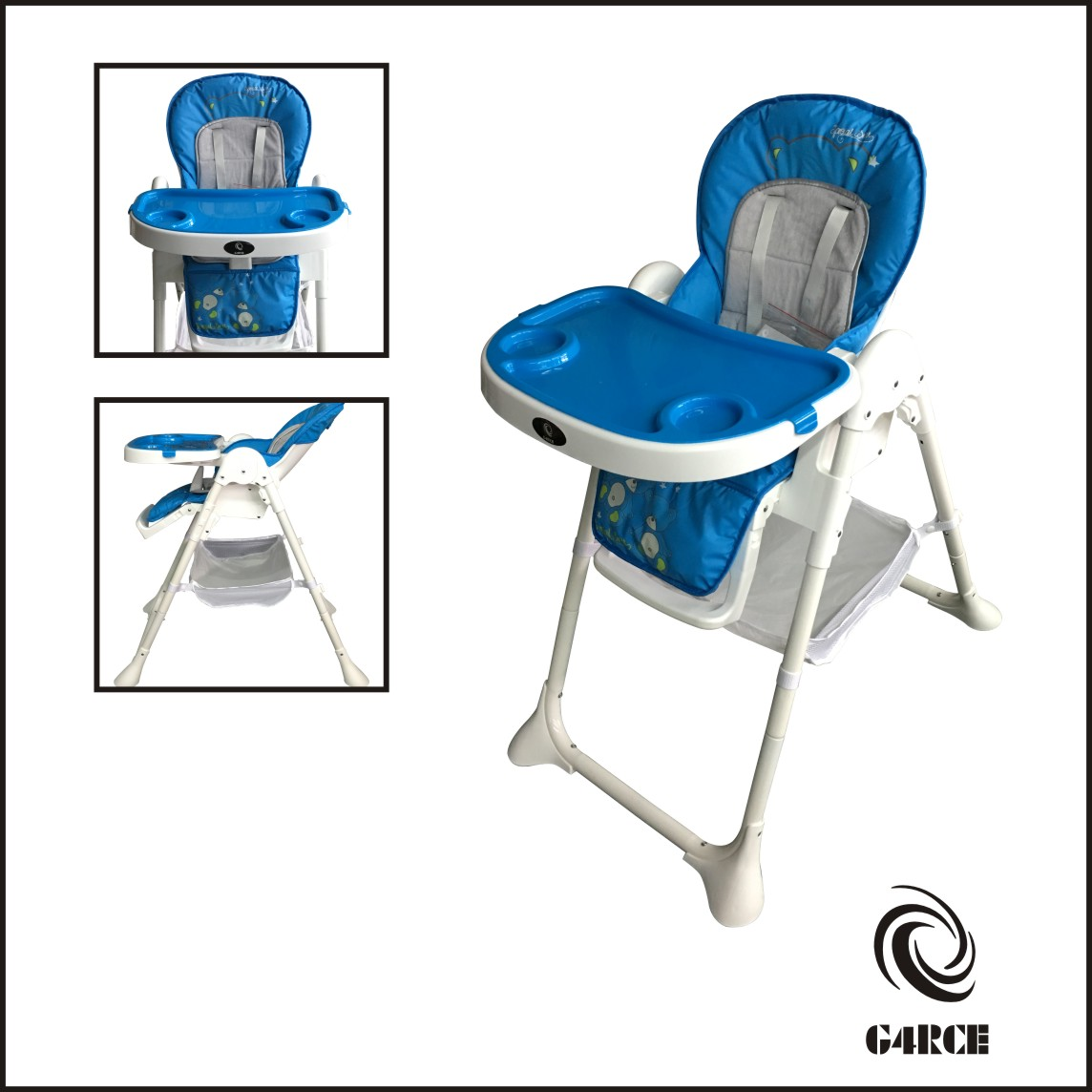 Details about Folding 3 In 1 Baby Toddler Infant Reclining High Chair Feeding Table Tray Blue