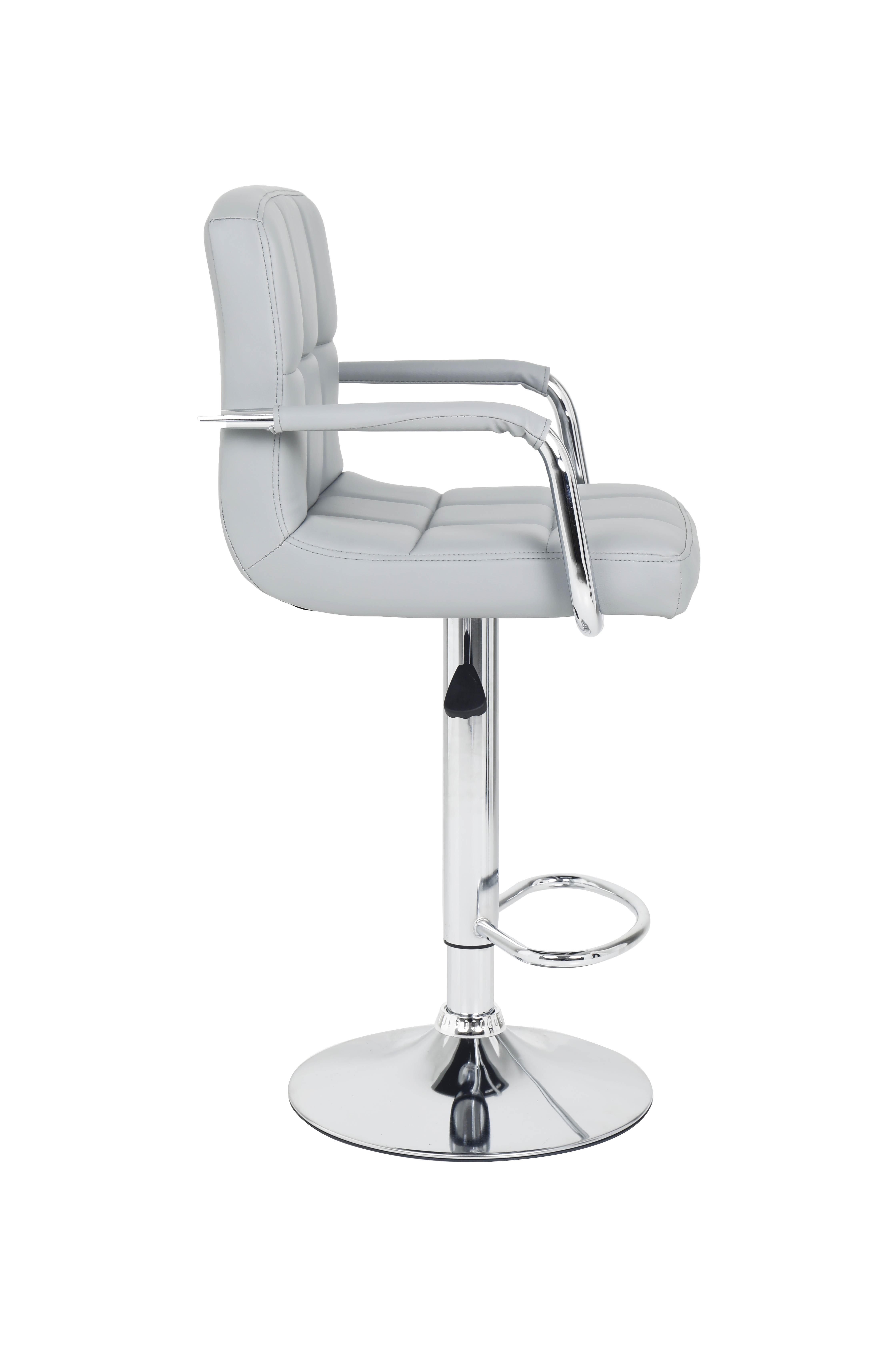 2 x Miami Style PU Leather Breakfast Lounge Bar Kitchen Pub Swivel Chairs Stools Grey