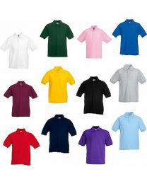 KIDS PLAIN COTTON POLO T SHIRT TOP BOYS GIRLS CHILD CHILDREN 13 COLOURS UNIFORM