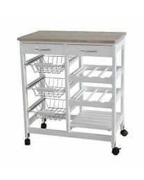 Hi Quality Pretty MDF Kitchen Trolley Island Dining Cart Worktop Basket Wheels