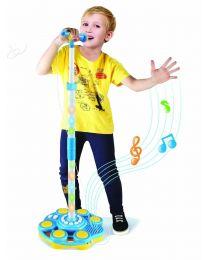 Electronic Plug & Play Mic Mp3 Microphone Light Stand Up Demo Singing Karaoke UK