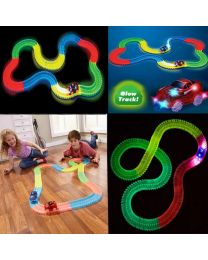 MAGIC TRACK 220 Glow in the Dark LED LIGHT UP RACE CAR Bend Flex Racetrack Fast
