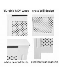 White Natural Painted Star Design Wood Radiator Heater Cover Cabinet UK Shipping