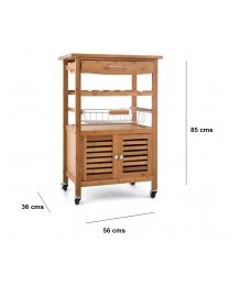 Natural Bamboo Wooden Kitchen Trolley Basket Cabinet Storage Cart Rack Wheels