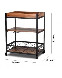 Vintage 3 Tier Metal/Wood Rolling Kitchen Trolley Organiser Storage Cart Tray