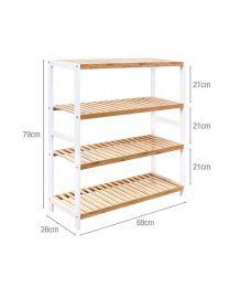 3 & 4 Tier Natural Bamboo Wood Shoe Rack Organiser Shelf Seat Hallway Furniture