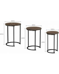 Set of 3 Round Vintage Wooden/Steel Nesting Side Coffee Tables Hallway Furniture
