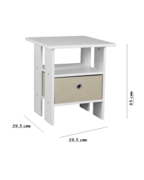 2 x White Wooden Bed Side Table Nightstand Shelf With Removable Canvas Drawer