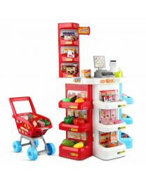 Childrens Kids Supermarket Shop Stall Pretend Toy Food Shopping Basket Play Game