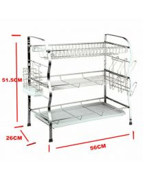 Brand New 3 Tier Steel Dish Drainer Crockery Cutlery Rack Organiser Drip Tray
