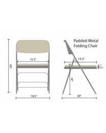 2 x Beige Office  Fabric Padded Upholstered Cushioned Metal Frame Folding Chair