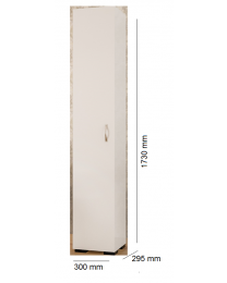White Wooden Free Standing Single Door Tall Storage Cabinet Cupboard Shelf Unit