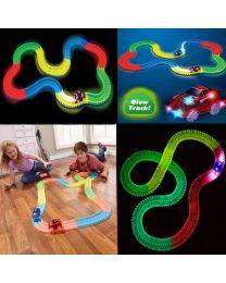 220 Pcs Kids Children Flexible Glow In The Dark Car Race Track Set LED Light