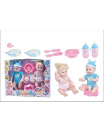 "12"" Inches Soft Baby Kids Twin Dolls Play set Feeding & Changing Accessories"