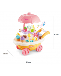 Mini Ice Cream Candy Dessert Cart Shop Trolley Dresser Pretend Role Play Set