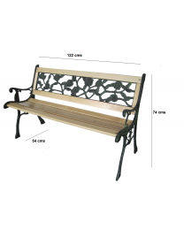 Wooden 3 Seater Garden Outdoor Park Patio Bench Cast Iron Legs & In 3 Designs