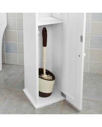 White Wooden Free Standing Toilet Roll Paper Tissue Cabinet Storage Cupboard