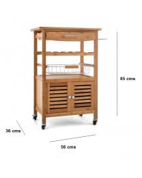 Natural Bamboo Wooden Kitchen Trolley Basket Cabinet Storage Cart Rack Wheels