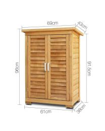 Portable Wooden Outdoor Garden Cabinet Shed Shelf Cupboard Storage Tools Toys
