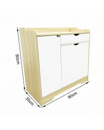 Multipurpose Natural Wooden Storage Cabinet Cupboard Organizer Sideboard 2 Sizes