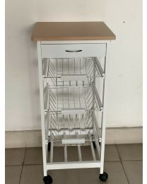 White Wooden 2 & 3 Tier Rolling Kitchen Trolley Basket Organiser Cabinet Cart