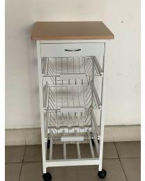 White Wooden 2 & 3 Tier Rolling Kitchen Trolley Basket Organiser Cabinet Cart