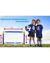 Kids Child Mini Football Soccer Practice Goal Post Net Ball Pump Whistle Set Toy