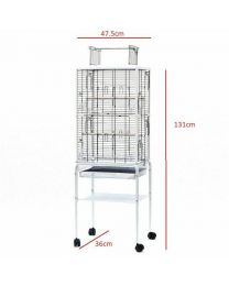 Large 131cm Open Top Transparent Clear Rolling Portable Metal Bird Cage Wheels