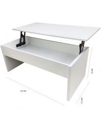 White Floating Extendable Lift Up Top Coffee Study Living Room Table Storage