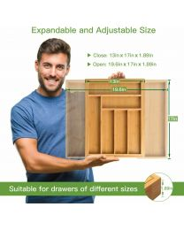 Bamboo Extendable 6-8 Compartment Cutlery Drawer Tray Holder Organiser Storage