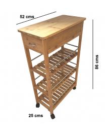 4 Tier Slim Portable Natural Bamboo Wood Kitchen Trolley Organiser Cart Basket