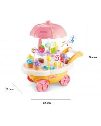Simulation Mini Ice Cream Candy Cart Trolley Dresser Pretend Role Play Food Set