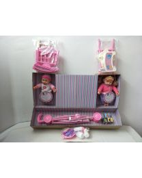 "12"" Twin Doll Set With Stroller, Crib,High Chair & Accessories Role Pretend Play"