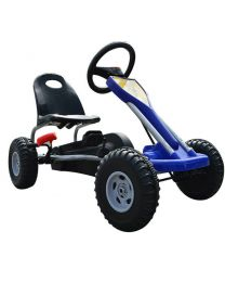 Deluxe Kids Ride Pedal Racing Car Go Kart Adjustable Seats with Hand Brake Blue