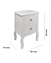 Chic White Wooden Free Standing Bedside Table Nightstand Unit Cabinet 2 Drawers