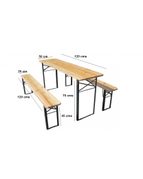 3 Pcs Wooden Folding Picnic Beer Table Bench Trestle Patio Outdoor Garden Pub