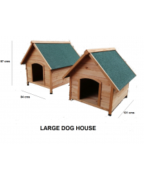 Wooden Outdoor/Indoor Pet House Dog Kennel Shelter Den With Apex Roof Med/Large