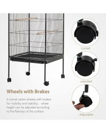 Portable Indoor/Outdoor Large Metal Bird Cage Aviary Flight With Castor Wheels