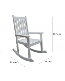 Indoor/Outdoor Hardwood White Rocking Chair Rocker Seat For Home Patio Balcony